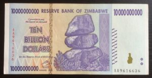 Ten Billion Dollar Zimbabwe Notes from Hyperinflation